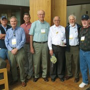 Left to right: Rudy Stocek, Lester DeCoster, Hank Hosking, Bruce Probert, Cliff Foster, Pete Hannah and Jack Lindsay