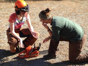 Two women discussing chainsaw