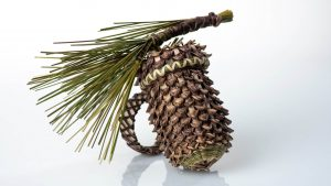 pinecone shaped basket made of sweetgrass