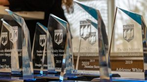 A few of the award sculptures handed to the faculty impact award winners